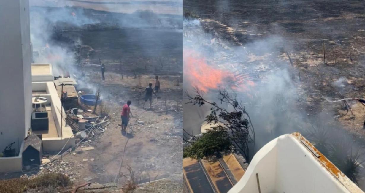 Φωτιά στη Μύκονο απείλησε συγκρότημα από έξι κατοικίες